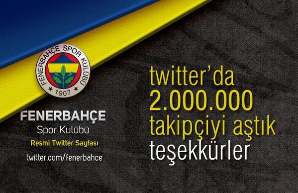 Fenerbahçe Twitter'da 2 milyon takipçiyi aştı