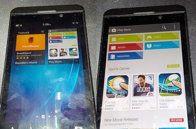 BlackBerry Z10 üzerinde Google Play Store göründü