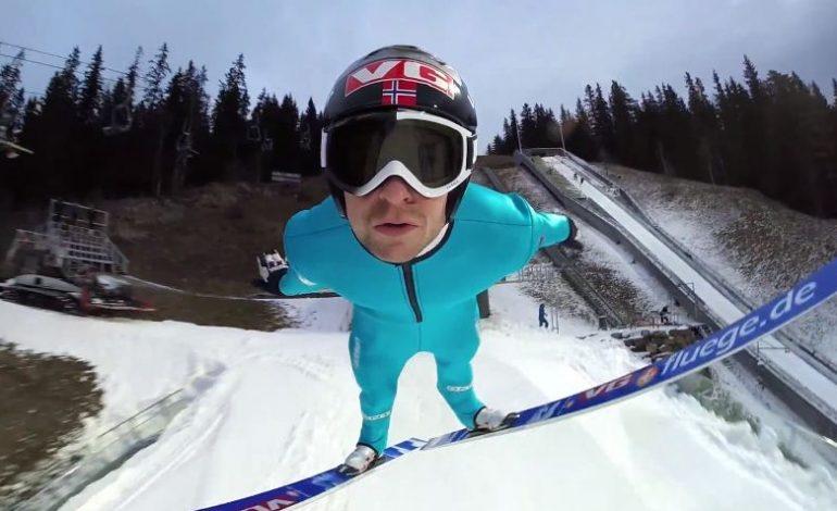 GoPro'yla kayak platformundan atladı