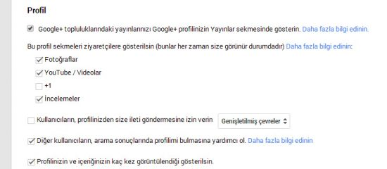 google plus profil ayar