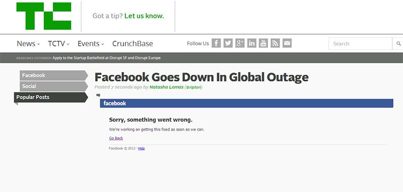 Tech Crunch sitesi de sitenin çlaışmadığını duyurdu
