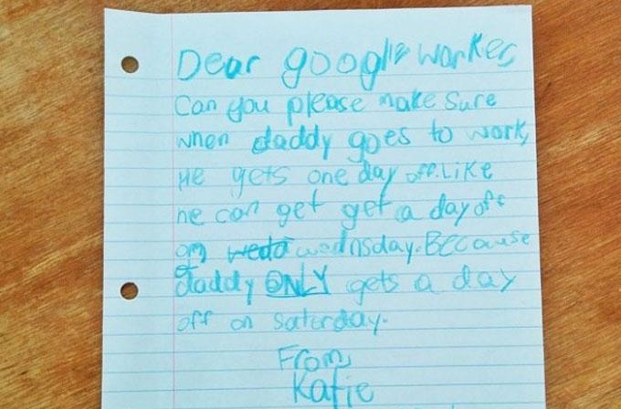 Küçük kız Google'da çalışan babası için tatil istedi