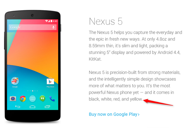 Nexus 5 sarı