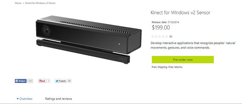 Kinect for Windows version 2 için gönderimler haftaya başıyor