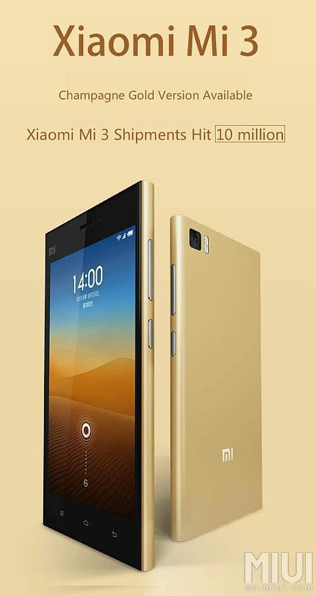 Xiaomi Mi3 şampanya rengi