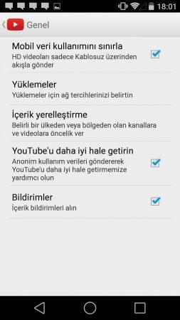Youtube veri ayarları