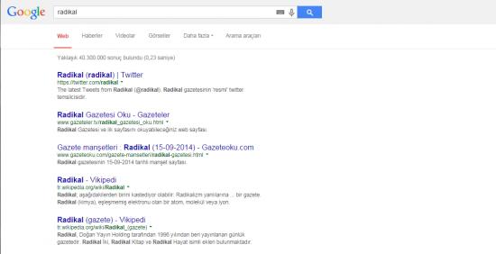 Google'a radikal yazdığınızda artık Radikal.com çıkmıyor