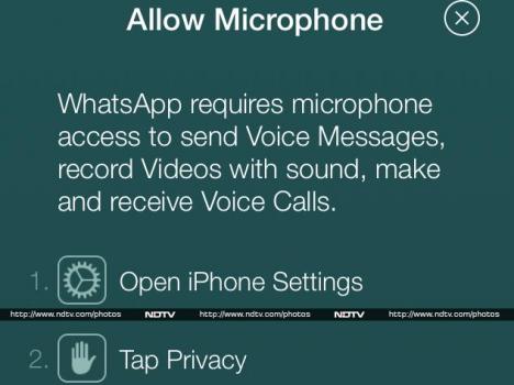 WhatsApp'ın istediği mikrofon ve sesli arama izni