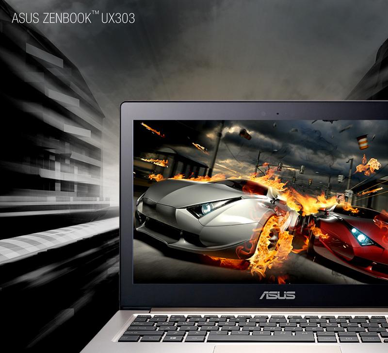 UX303'ün yüksek performanslı 4. nesil Intel® Core™ i7'ye kadar işlemcileri, NVIDIA® GeForce® GT840M ekran kartı ve 3200 x 1800 QHD+ ekran ile birlikte akıcı performans ve yaşam kadar canlı görüntüler sunuyor.