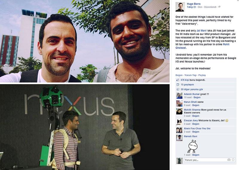 Hugo Bara, Jai Mani'nin Xiaomi'ye geçişini Facebook sayfası üzerinden duyurdu