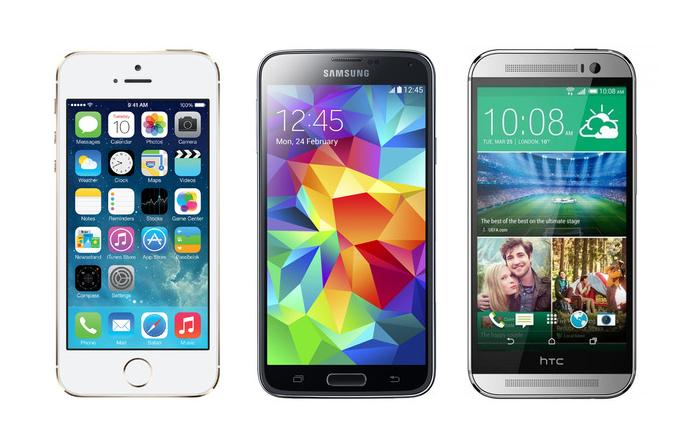 iPhone vs Samsung Galaxy S5 vs HTC One (M8)