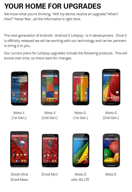 Motorola'nın Android 5.0 güncellemesi alacak telefonları