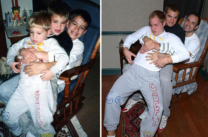 Üç kardeş, çocukluk fotoğraflarını tekrar canlandırdı