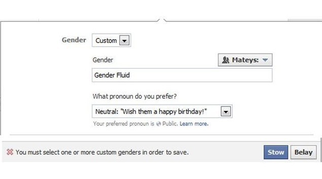 Facebook cinsiyet