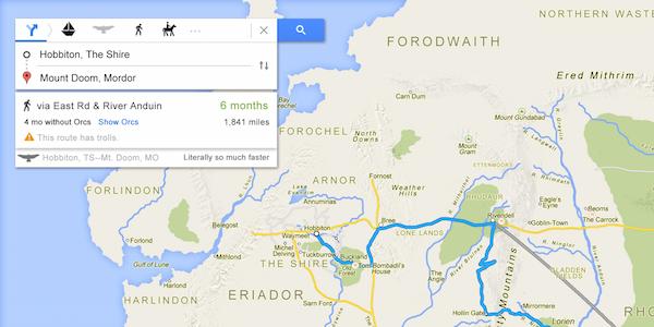 'Lord of the Rings Google Map' Mordor'a nasıl gideceğinizi gösteriyor
