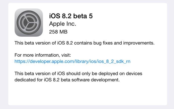 iOS 8.2 Beta 5 yazılım geliştiriciler için kullanıma sunuldu
