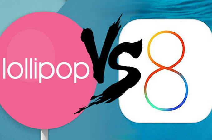 Android Lollipop, iOS 8'e göre daha az çöküyor