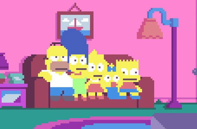 The Simpsons introsunun bir de piksel versiyonunu izleyin
