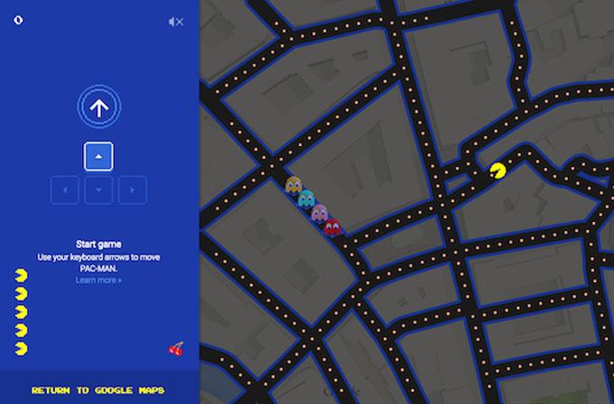 Google'ın bir diğer şakası Google Maps'te Pac-Man oynatmak