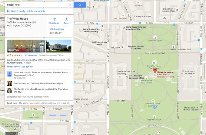 Google Maps'te zenci kelimesi Beyaz Sarayı gösteriyor
