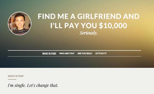Bu adama kız arkadaş bulan 10 bin dolar kazanacak