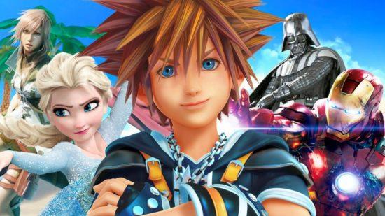 Kingdom Hearts, Disney evreninden beslenen bir yapım. Devam oyunu Kingdom Hearts 3'te de daha da genişleyen bu evrenden beslenmesi bekleniyor.