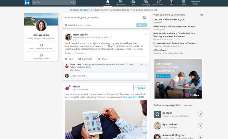 LinkedIn Arayüz Değişimi ile Beraber Facebook'a Benzedi