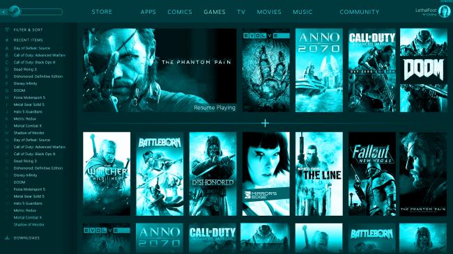 Steam'e Uygulamalar, Çizgi Romanlar ve Televizyon Menüleri Geliyor