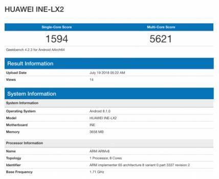 Huawei Nova 3i Geekbench