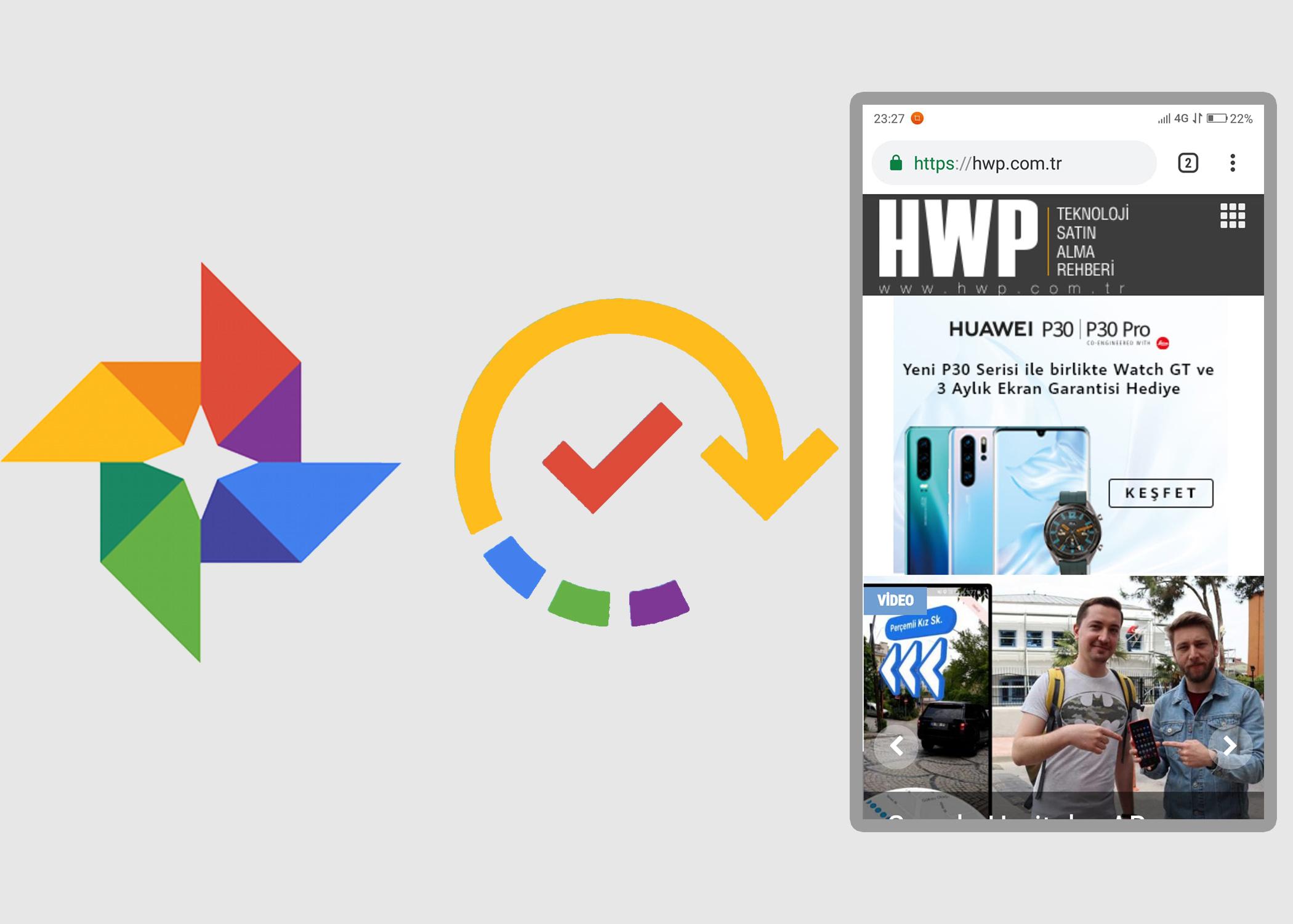 Google Fotoğraflar ekran görüntüsü yedekleme