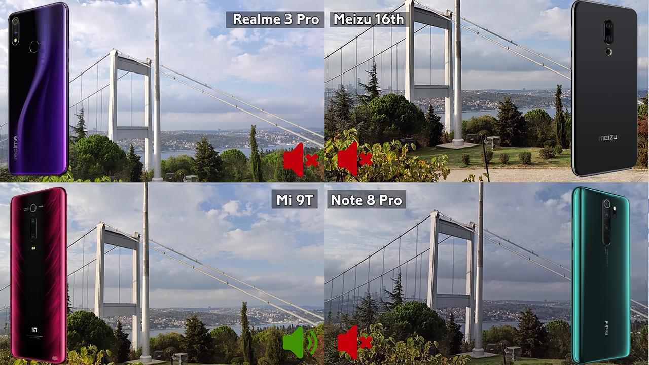 Redmi Note 8 Pro, Mi 9T, Realme 3 Pro ve Meizu 16th video karşılaştırma