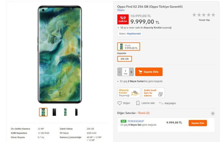 Hepsiburada Oppo Find X2 fiyatı