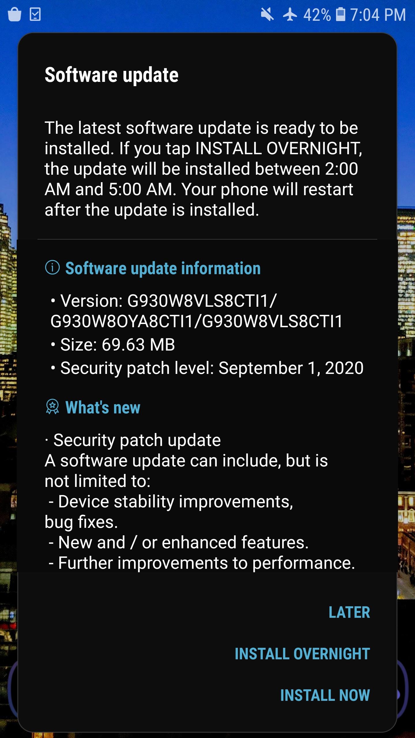 Galaxy S7 Eylül 2020