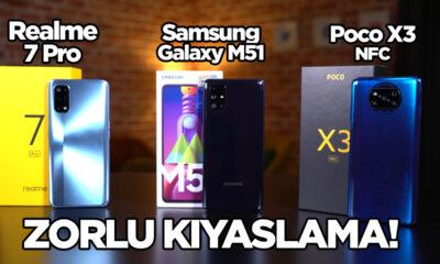 Poco X3 NFC vs Realme 7 Pro vs Galaxy M51