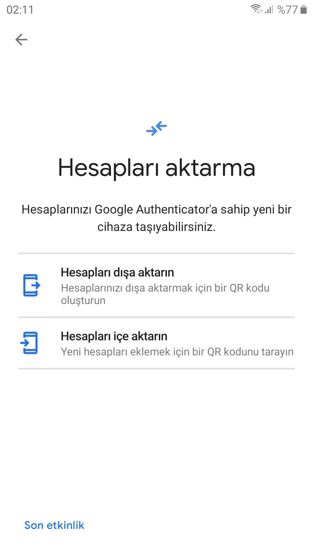 Google Authenticator silindi