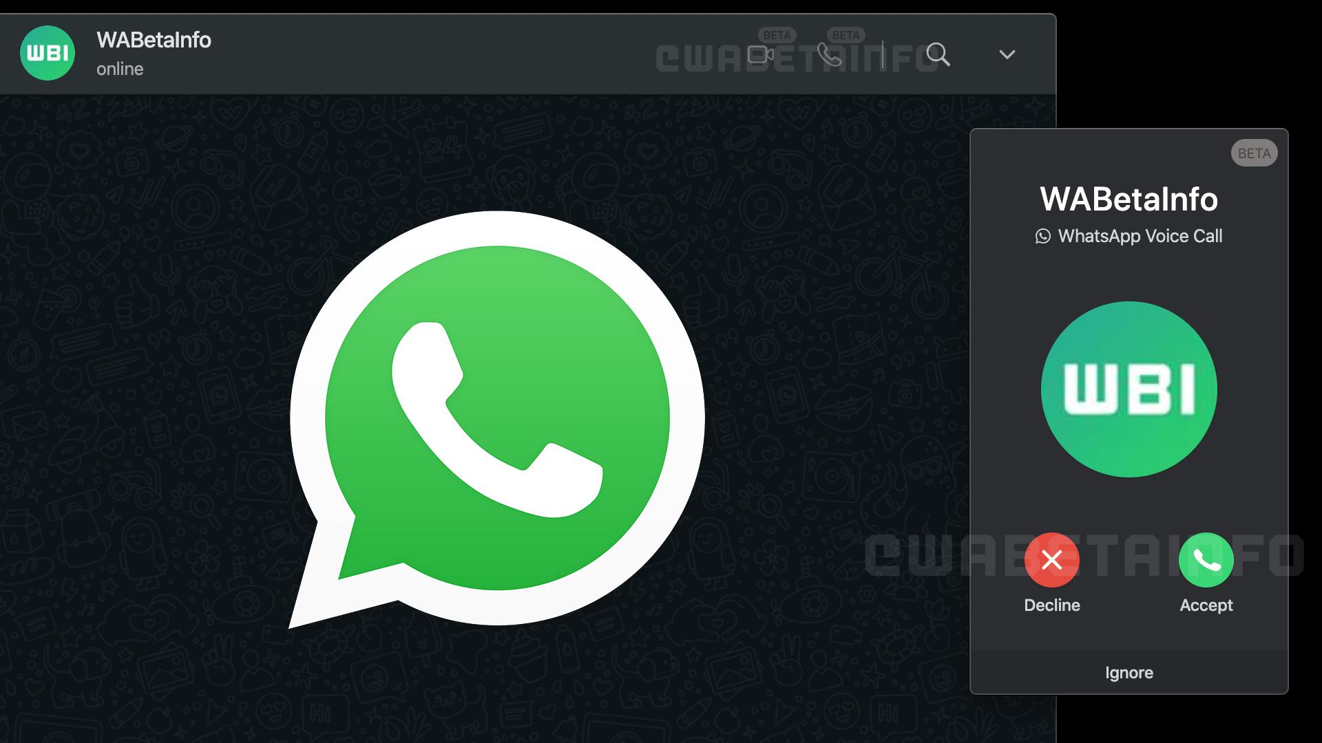 WhatsApp Web görüntülü sesli arama