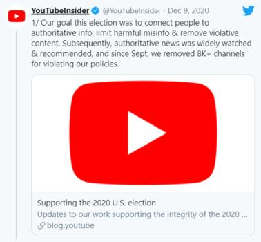 YouTube 2020 başkanlık