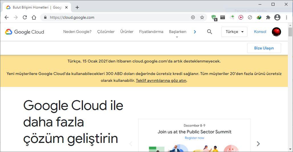 google cloud türkçe dil desteği