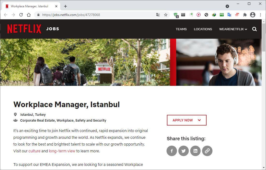 netflix istanbul türkiye iş ilanı