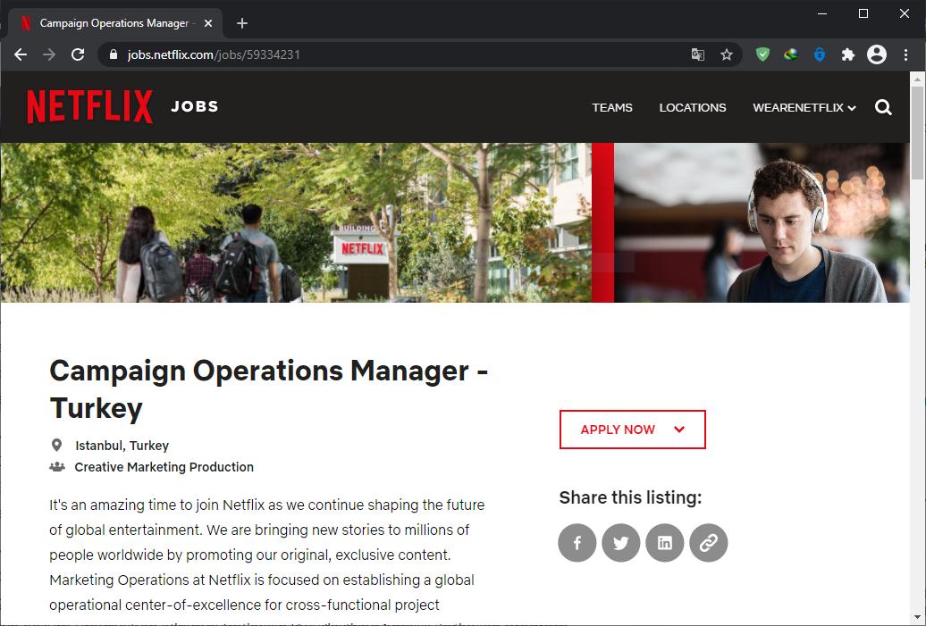 netflix istanbul ofisi iş ilanı