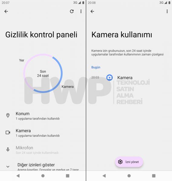 Android 12 Gizlilik Panosu