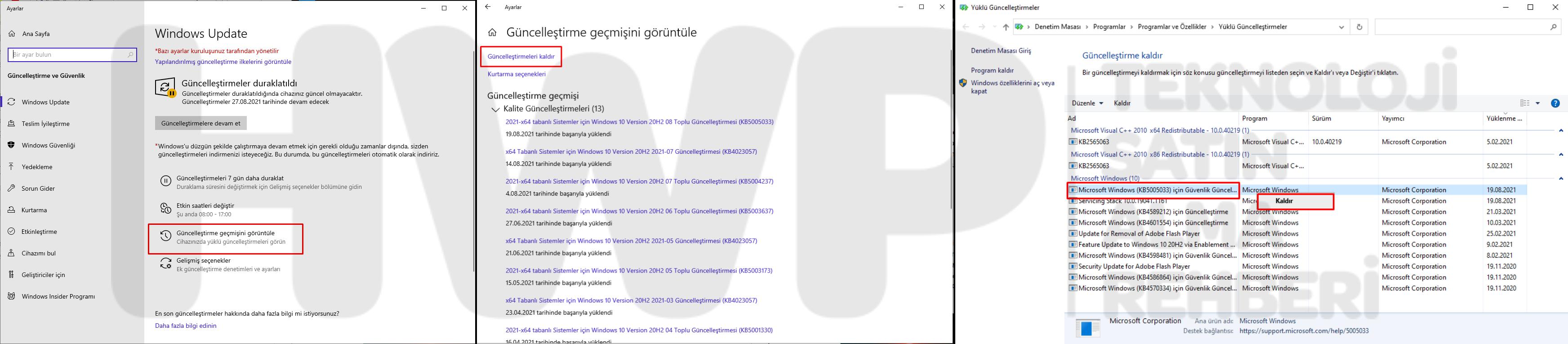 Windows 10 Güncelleme Kaldırma