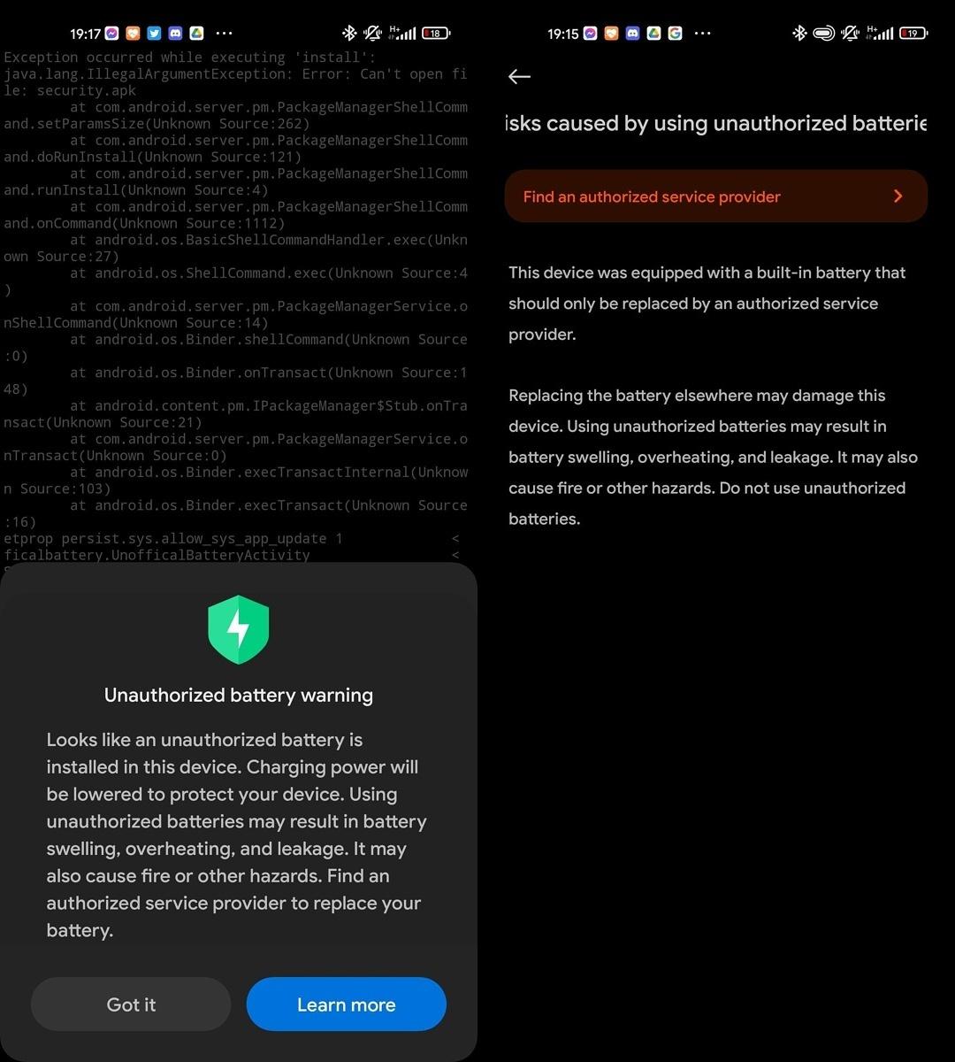 Xiaomi Orijinal Olmayan Pil Uyarısı