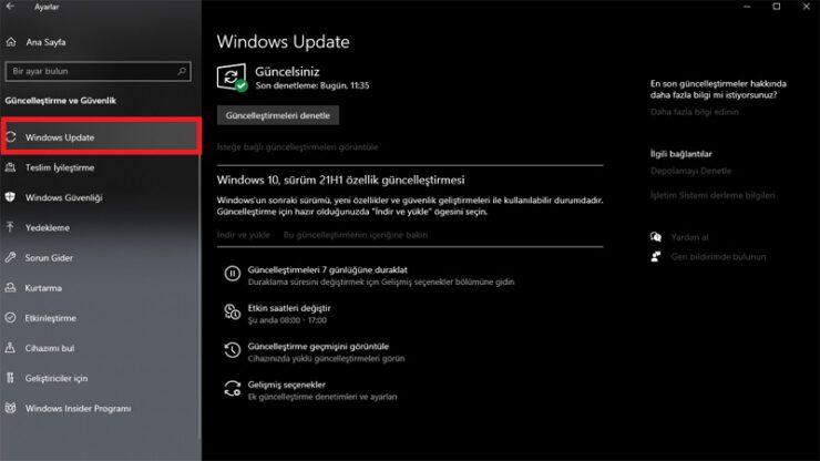 windows 10 güncelleme kapatma