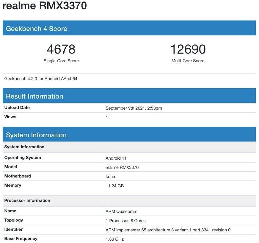 Realme GT Neo 2 RMX3370 Geekbench